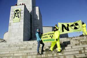 Activists from Greenpeace Hungary protest at Budapestís Liberty Statue, against plans to expand the Paks 2 Nuclear Power Plant. Greenpeace calls on the Hungarian Parliament to withdraw their support for an extension of the nuclear plant.