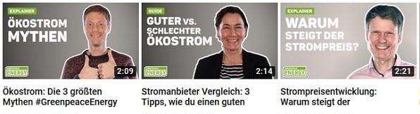 Greenpeace Energy auf Youtube